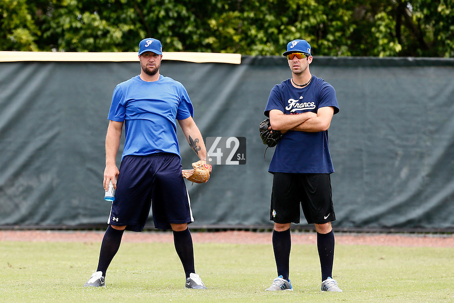 19 September 2012: France Eric Gagne is seen next to Pierrick Le Mestre prior to Team France friendly game won 6-3 against Palm Beach State College, during the 2012 World Baseball Classic Qualifier round, in Lake Worth, Florida, USA.