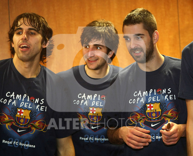 FC Barcelona's Victor Sada, Ricky Rubio and Juan Carlos Navarro celebrate the victory after Spanish Basketball King's Cup Final match.(ALTERPHOTOS/Acero)