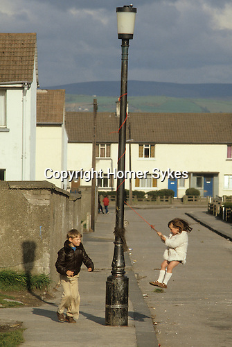 Kids playing in the street Belfast suburb Northern Ireland  1980s
