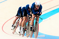 Picture by Alex Whitehead/SWpix.com - 10/12/2017 - Cycling - UCI Track Cycling World Cup Santiago - Velódromo de Peñalolén, Santiago, Chile - USA's Colby Lange, Eric Young, Ashton Lambie and Gavin Hoover compete in the Men's Team Pursuit first round.