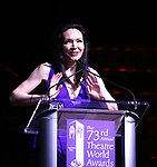 Katrina Link on stage at the 73rd Annual Theatre World Awards at The Imperial Theatre on June 5, 2017 in New York City.