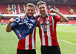 Jack O'Connell and Chris Basham of Sheffield United  during the English League One match at Bramall Lane Stadium, Sheffield. Picture date: April 30th, 2017. Pic credit should read: Jamie Tyerman/Sportimage