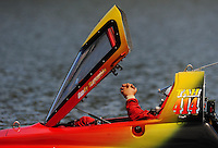 Jul. 18, 2009; Augusta, GA, USA; IHBA top alcohol hydro driver Andy Reynolds sits in his capsule during qualifying for the Augusta Southern Nationals on the Savannah River. Mandatory Credit: Mark J. Rebilas-