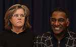 "Rosie O'Donnell and Norm Lewis during ""The Music Man"" Media Day Rehearsal at the New 42nd Street Studios on January 24, 2019 in New York City."