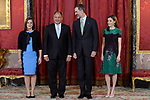 King Felipe VI of Spain (c-r) and Queen Letizia of Spain (r) receive Costa Rica's President Guillermo Solis (c-l) and wife Mercedes Penas Domingo for an official lunch at the Royal Palace in Madrid. May 8 ,2017. (ALTERPHOTOS/Pool)
