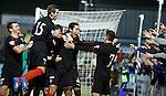 Bilel Mohsni celebrates with goal provider Fraser Aird