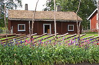 Where Linnaeus was born. The herbal garden with plants typical for Linnaeus time. The farm at Rashult where Linnaeus was born. Smaland region. Sweden, Europe.