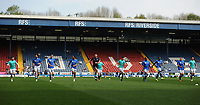 Blackburn Rovers squad during the pre-match warm-up <br /> <br /> Photographer Kevin Barnes/CameraSport<br /> <br /> The EFL Sky Bet Championship - Blackburn Rovers v Bolton Wanderers - Monday 22nd April 2019 - Ewood Park - Blackburn<br /> <br /> World Copyright © 2019 CameraSport. All rights reserved. 43 Linden Ave. Countesthorpe. Leicester. England. LE8 5PG - Tel: +44 (0) 116 277 4147 - admin@camerasport.com - www.camerasport.com