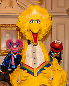 Sesame Street characters Abby, Big Bird, and Elmo, three of the recipients of the 42nd Annual Kennedy Center Honors pose as part of a group photo following a dinner at the United States Department of State in Washington, D.C. on Saturday, December 7, 2019.  The 2019 honorees are: Earth, Wind & Fire, Sally Field, Linda Ronstadt, Sesame Street, and Michael Tilson Thomas.<br /> Credit: Ron Sachs / Pool via CNP