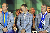 European Team Players Peter Hanson, Martin Kaymer and Paul Lawrie on stage at the Closing Ceremony after Sunday's Singles Matches of the 39th Ryder Cup at Medinah Country Club, Chicago, Illinois 30th September 2012 (Photo Colum Watts/www.golffile.ie)