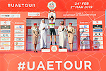 World Champion Alejandro Valverde (ESP) Movistar Team wins Stage 3 of the 2019 UAE Tour, running 179km form Al Ain to Jebel Hafeet, Abu Dhabi, United Arab Emirates. 26th February 2019.<br /> Picture: LaPresse/Massimo Paolone | Cyclefile<br /> <br /> <br /> All photos usage must carry mandatory copyright credit (© Cyclefile | LaPresse/Massimo Paolone)