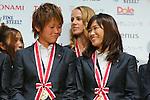 (L toR) Asuna Tanaka (Leonessa),  Nahomi Kawasumi (Leonessa), November 13, 2012 - Football / Soccer : Plenus Nadeshiko LEAGUE 2012 Award ceremony in Tokyo, Japan. (Photo by Yusuke Nakanishi/AFLO SPORT).