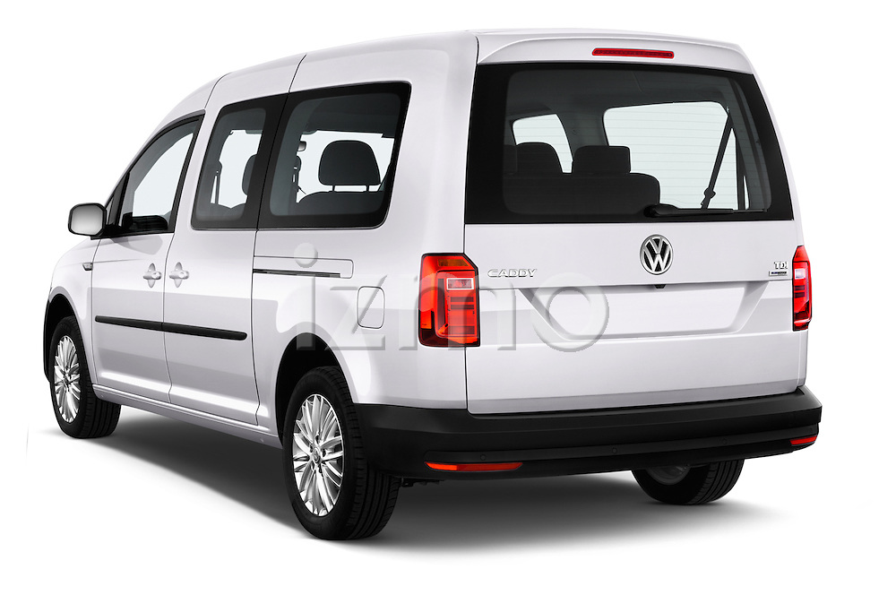Car pictures of rear three quarter view of 2015 Volkswagen Caddy Maxi Dark & Cool 5 Door Mini Mpv Angular Rear