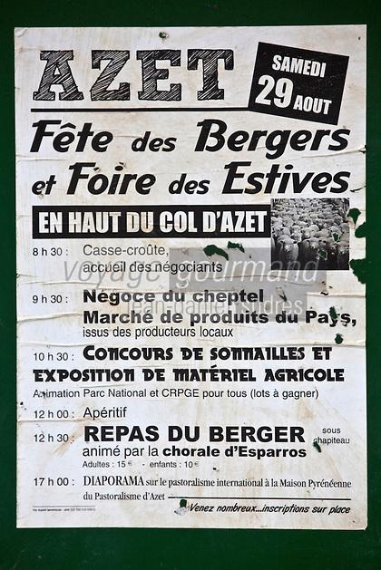 Europe/France/Midi-Pyrénées/65/Hautes-Pyrénées/Vallée d'Aure/Azet: Au col d'Azet, appelé aussi col de Val-Louron-Azet , affiche annonçant la fête des bergers