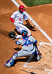 30 April 2017: Washington Nationals outfielder Michael Taylor slides home to score Washington's fifth run in the first inning against the New York Mets at Nationals Park in Washington, DC. The Nationals defeated the Mets 23-5, with the Nationals setting several individual and team records, in the third game of their weekend series. Mandatory Credit: Ed Wolfstein Photo *** RAW (NEF) Image File Available ***