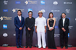 Man Wenjun (hat), Ricky Chan (blue jacket), Huang Gexuan (sunglasses), Danny Lau (necktie), and Cindy Lee at the Red Carpet event at the World Celebrity Pro-Am 2016 Mission Hills China Golf Tournament on 20 October 2016, in Haikou, China. Photo by Marcio Machado / Power Sport Images