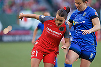 Portland, OR - Saturday May 06, 2017: Hayley Raso, Rachel Corsie during a regular season National Women's Soccer League (NWSL) match between the Portland Thorns FC and the Seattle Reign FC at Providence Park.