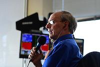 Oct. 28, 2012; Las Vegas, NV, USA: NHRA announcer Bob Frey during the Big O Tires Nationals at The Strip in Las Vegas. Mandatory Credit: Mark J. Rebilas-