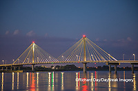 63895-15404 Clark Bridge at dusk-night over Mississippi River Alton, IL