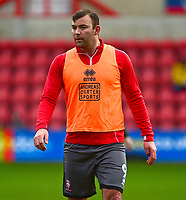 Lincoln City's Matt Rhead during the pre-match warm-up<br /> <br /> Photographer Andrew Vaughan/CameraSport<br /> <br /> The EFL Sky Bet League Two - Swindon Town v Lincoln City - Saturday 12th January 2019 - County Ground - Swindon<br /> <br /> World Copyright &copy; 2019 CameraSport. All rights reserved. 43 Linden Ave. Countesthorpe. Leicester. England. LE8 5PG - Tel: +44 (0) 116 277 4147 - admin@camerasport.com - www.camerasport.com