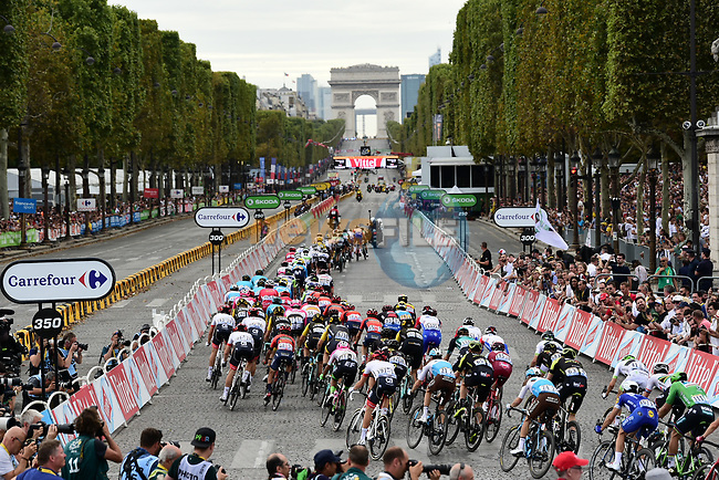 The peloton on Champs-Elysees during Stage 21 of the 2018 Tour de France running 116km from Houilles to Paris Champs-Elysees, France. 29th July 2018. <br /> Picture: ASO/Pauline Ballet | Cyclefile<br /> All photos usage must carry mandatory copyright credit (© Cyclefile | ASO/Pauline Ballet)