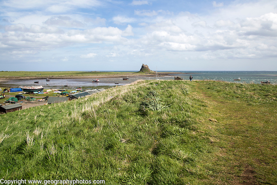 Lindisfarne castle and harbour, Holy Island,  Northumberland, England, UK