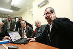 MK Muhamad Barake (R), chairman of the ultra left-wing Hadash Party seen at the Party headquarters in Nazareth, a short while after the first exit polls were announced, predicting approximately 4 seats for the Party in the parliamentary elections that were held today, Tuesday, February 10, 2009. Photo By: Dror Artzi / JINI.