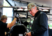 Aug. 3, 2014; Kent, WA, USA; Crew chief Richard Hogan for NHRA top fuel dragster driver Steve Torrence during the Northwest Nationals at Pacific Raceways. Mandatory Credit: Mark J. Rebilas-