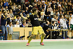 Berlin, Germany, January 31: Tobias Lietz #10 of Harvestehuder THC celebrates after his team scored a goal during the 1. Bundesliga Herren Hallensaison 2014/15 semi-final hockey match between Harvestehuder HTC(black/yellow) and HTC Uhlenhorst Muehlheim (white/green) on January 31, 2015 at the Final Four tournament at Max-Schmeling-Halle in Berlin, Germany. Final score 6-3 (2-2). (Photo by Dirk Markgraf / www.265-images.com) *** Local caption ***