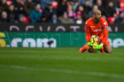 March 4th 2017,  bet365 Stadium, Stoke, England; EPL Premier League football, Stoke City versus Middlesbrough; Stoke goalkeeper Lee Grant makes a save