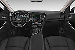 Stock photo of straight dashboard view of a 2014 KIA Optima Hybrid EX 4 Door Sedan Dashboard