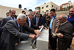 Palestinian Prime Minister Salam Fayyad, lays the foundation stone for the park in the West Bank city of of Jaffna, on March 30, 2013. Photo by Mustafa Abu Dayeh