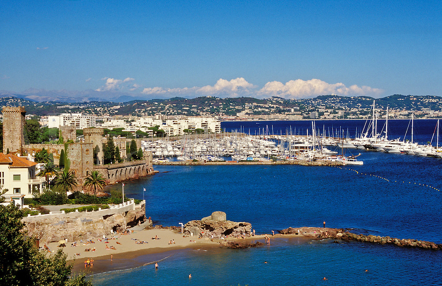 France. Provenence. La Napoule, castle and marina, near Cannes on the Mediterranean Coast..