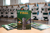 General view of the match day programme in the Ealing Trailfinders dressing room ahead of the British & Irish Cup Final match between Ealing Trailfinders and Leinster Rugby at Castle Bar, West Ealing, England  on 12 May 2018. Photo by David Horn / PRiME Media Images.