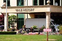 Pictured: The Vale Resort Hotel in Hensol near Cardiff, Wales, UK<br /> Re: A man has died after falling from the window of four-star hotel The Vale Resort in Hensol, Vale of Glamorgan, Wales, UK<br /> South Wales Police was called to , just before 5.40am on Friday to reports a man, believed to be in his 20s, who had fallen to his death.<br /> Police said his death was not being treated as suspicious and the coroner had been informed.<br /> The hotel is used as a base by both Wales' rugby and football teams.