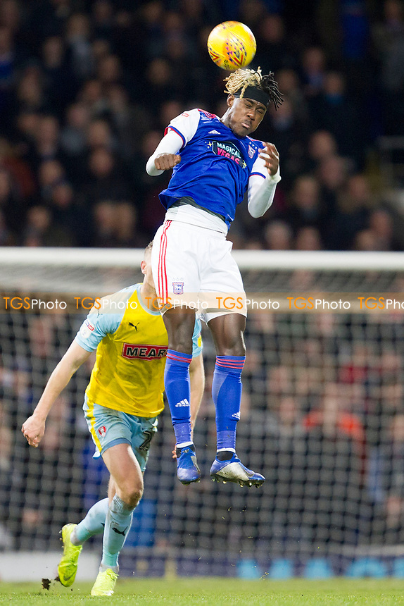 Trevoh Chlobah of Ipswich Town heads clear during Ipswich Town vs Rotherham United, Sky Bet EFL Championship Football at Portman Road on 12th January 2019