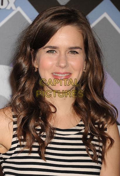 Zoe Jarman.arriving at the 2013 TCA Winter Press Tour - FOX All-Star Party at The Langham Huntington Hotel and Spa in Pasadena, California, USA, .January 8th, 2013.   .portrait headshot white black striped .CAP/ROT/TM.©Tony Michaels/Roth Stock/Capital Pictures