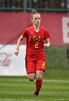 20181205 - TUBIZE , BELGIUM : Belgian Lea Detail pictured during the friendly female soccer match between Women under 15 teams of  Belgium and Gemany , in Tubize , Belgium . Wednesday 5 th December 2018 . PHOTO SPORTPIX.BE / DIRK VUYLSTEKE
