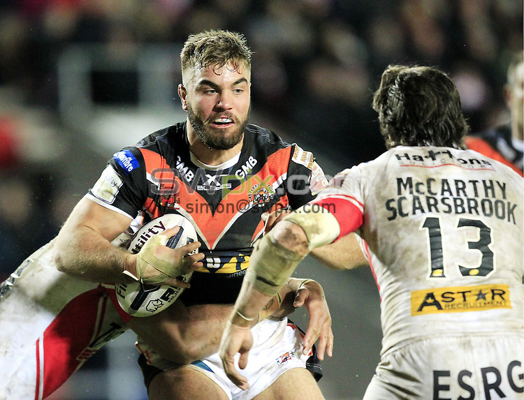 PICTURE BY CHRIS MANGNALL /SWPIX.COM...<br /> Rugby League - Super League - St Helens Saints v Castleford Tigers   - Langtree Park Stadium, , England  - 04/03/16<br /> St Helens Lama Tasi  tackles Castleford's Mike McMeeken