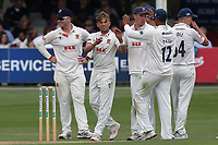 Aaron Beard of Essex celebrates with his team mates after taking the wicket of Ben Coad during Essex CCC vs Yorkshire CCC, Specsavers County Championship Division 1 Cricket at The Cloudfm County Ground on 7th July 2019
