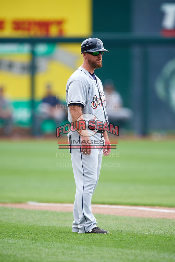 San Antonio Missions hitting coach Lance Burkhart (27) during a game against the Springfield Cardinals on June 4, 2017 at Hammons Field in Springfield, Missouri.  San Antonio defeated Springfield 6-1.  (Mike Janes/Four Seam Images)