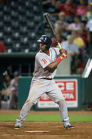 Rafael Devers (13) of the Greenville Drive at bat against the Greensboro Grasshoppers at NewBridge Bank Park on August 17, 2015 in Greensboro, North Carolina.  The Drive defeated the Grasshoppers 5-4 in 13 innings.  (Brian Westerholt/Four Seam Images)