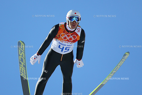 Akito Watabe (JPN), <br /> FEBRUARY 12, 2014 - Nordic Combined : <br /> Individual Gundersen NH/10km traning session<br /> at &quot;RUSSKI GORKI&quot; Jumping Center <br /> during the Sochi 2014 Olympic Winter Games in Sochi, Russia. <br /> (Photo by Yohei Osada/AFLO SPORT)