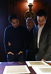 Lin-Manuel Miranda, Luis Miranda and Thomas Kail from the 'Hamilton' creative team during a CBS Morning News interview taping with John Dickerson at The Library of Congress on December 2, 2018 in Washington, D.C.