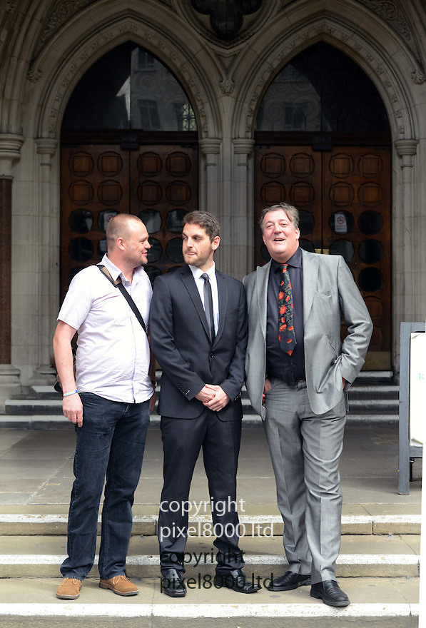 "Pic shows: ..Paul Chambers, Twitter martyr, arrives at the High Court in London today 27.6.12 with celebrity supporters Stephen Fry and Al Murray, The Pub Landlord.... The case of a man found guilty of sending a menacing tweet returns to court today...Paul Chambers was fined £385 and ordered to pay £600 costs at Doncaster Magistrates' Court in May 2010 after being convicted of sending ""a message of a menacing character"", contrary to provisions of the 2003 Communications Act...The 27-year-old accountant said he sent the tweet to his 600 followers in a moment of frustration after Robin Hood Airport in South Yorkshire was closed by snow in January 2010, and never thought anyone would take seriously his ""silly joke""......Pic by Gavin Rodgers/Pixel 8000 Ltd"