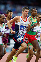 05 AUG 2012 - LONDON, GBR - Ross Murray (GBR) (centre) of Great Britain during his London 2012 Olympic Games men's 1500m semi final in the Olympic Stadium at the Olympic Park in Stratford, London, Great Britain (PHOTO (C) 2012 NIGEL FARROW)