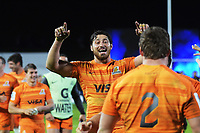 Javier Otega Desio celebrates winning the Super Rugby match between the Chiefs and Jaguares at Rotorua International Stadum in Rotorua, New Zealand on Friday, 4 May 2018. Photo: Dave Lintott / lintottphoto.co.nz