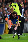 Football Season 2009-2010. Barcelona's player Lionel Messi (L) is challanged against Zaragoza's Jorge Lopez (R) during their Spanish first division soccer match at Camp Nou stadium in Barcelona October 25, 2009