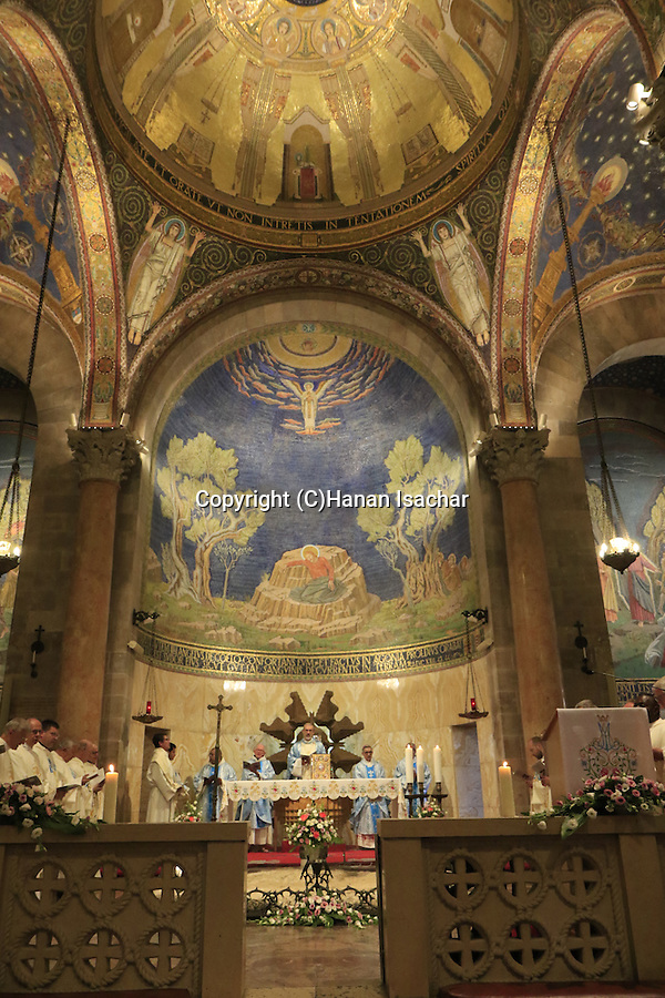 Israel, Jerusalem, Assumption Day at the Basilica of the Agony or the Church of all Nations at the Garden of Gethsemane, the Custos of the Holy Land Fr. Pierbattista Pizzaballa presiding over the ceremony