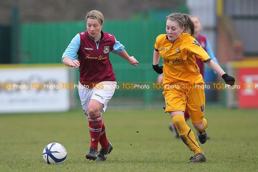 West Ham United Ladies vs Millwall Lionesses - FA Womens Premier League Southern Division Football at Ship Lane, Thurrock FC - 10/03/13 - MANDATORY CREDIT: Gavin Ellis/TGSPHOTO - Self billing applies where appropriate - 0845 094 6026 - contact@tgsphoto.co.uk - NO UNPAID USE.